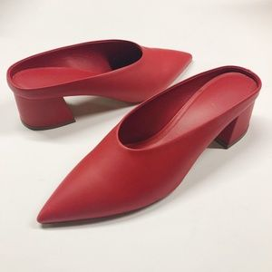 VINCE Ralston Red Pointed Toe Leather Mules